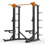 Squat rack til fitnesscentre med safety arms og opbevaring