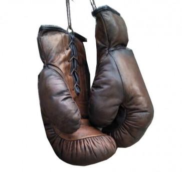 Retro boksehandsker i ægte mørk læder