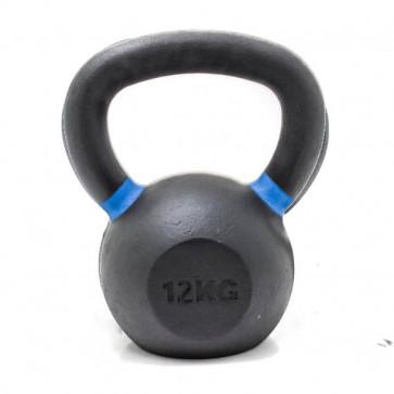 V2 Støbejerns kettlebell med blå ringe for 12 kg.