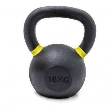 16 kg støbejerns kettlebell med gule markeringer for vægten