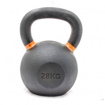Kettlebell på 28 kg med orange markeringer der viser vægten.