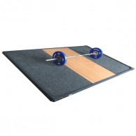 Vægtløfterplatform med måtter i 1 stykke samt træplade