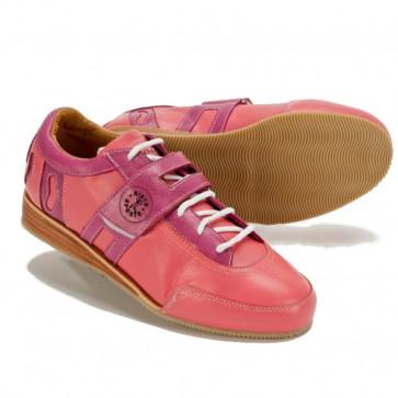 Vægtløftningssko i pink. Fede sko i læder og med ægte træ.