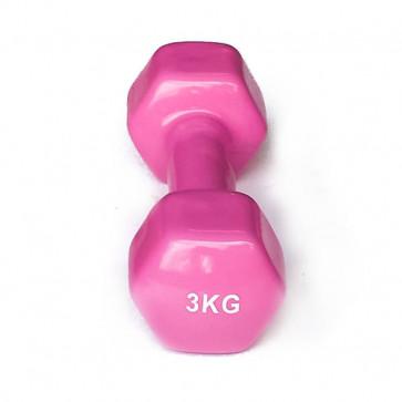 Vinylhåndvægt i 3 kg pink model med gumi
