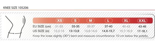 Størrelsesguide til Rehband RX knæbind